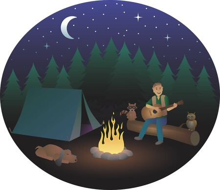 Man Playing Guitar while Camping Stock Vector - 16847707