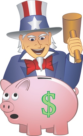 sam: Uncle Sam Smashing Piggy bank Illustration