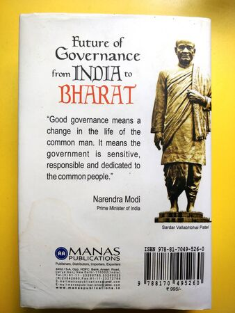 Chennai,TamilNadu/India-08202019:Future of Governance: From India to Bharat (English, N Vittal IAS) back cover on yellow background
