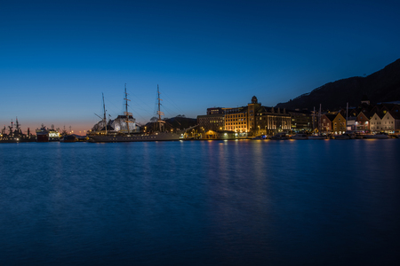 sea scape: Ships in port at the Bergen Norway