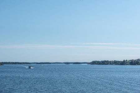 work boat: Work boat in Baltic sea. Stock Photo
