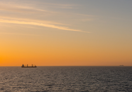 work boat: Sunset view at Baltic Sea from cruise.