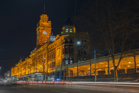 Flinders Street Railway Station at  night time, Melbourne city , Australia.