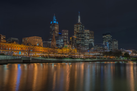 flinders: Night time, Melbourne city and flinders street station, Victoria, Australia.