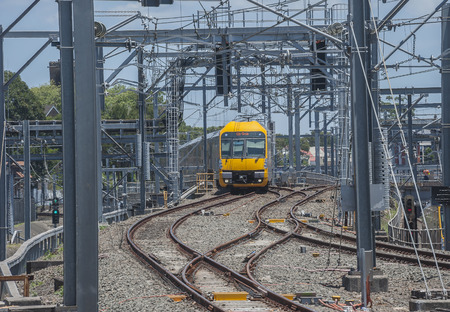 public transfer: SYDNEY,AUSTRALIA  : A Waratah train approaches Central Station with a local service.