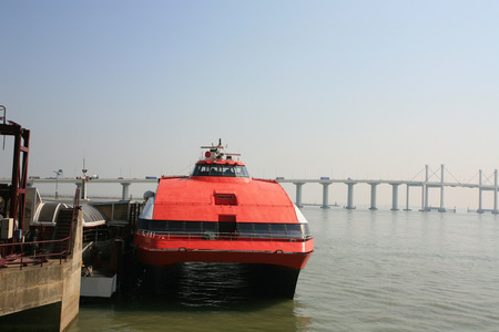 catamaran: Catamaran Ferry in pier, Macau