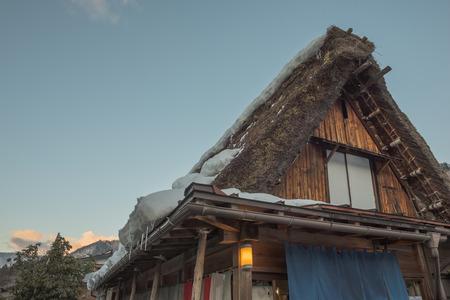 ogimachi: Before sunset time, Beautiful Facade and triangle roof symbol of The Historic Villages of Shirakawa Shirakawa-go. Shirakawago Traditional Houses in the Gassho Zukuri Style