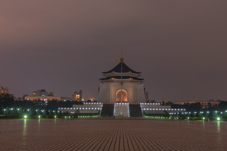The Chiang kai-shek memorial hall  at night time in Taipei, Taiwan