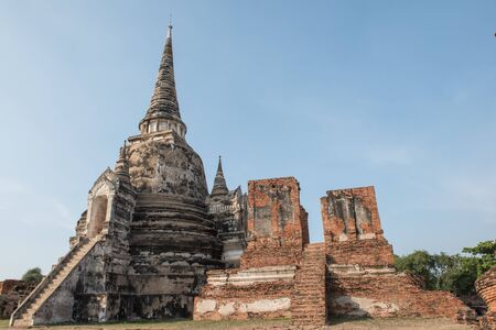 Ancient ruins of the temple Wat Phra Sri Sanphet national historic site in Ayutthaya, Thailand.