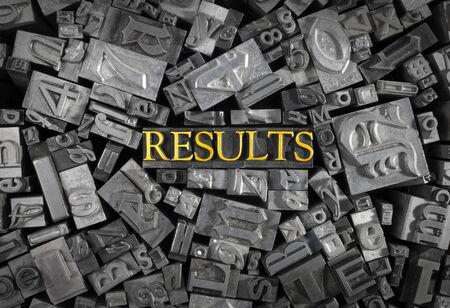 letterpress  type: Hot Letterpress type saying RESULTS.  Stock Photo