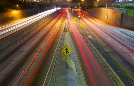A long exposure of a freeway at night in the city. Stock Photo - 11976177