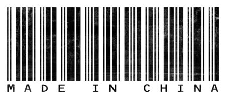 made in china: A barcode reading Made in China with a grungephotocopied look.