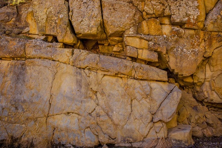 rock formation: A close up view of a detailed rock wall formation. Stock Photo