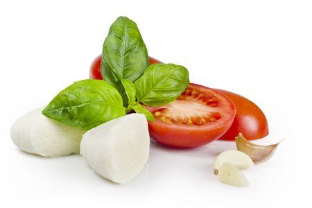 tomato, mozzarella, basil and garlic Stock Photo