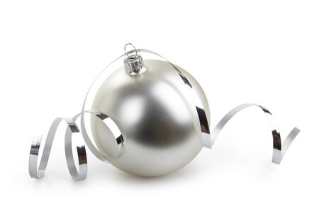 silver christmas ball with ribbon isolated on white background Stock Photo