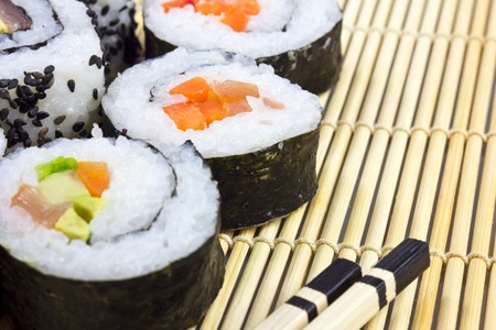 sushi on the mat Stock Photo