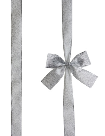 Silver ribbon and bow isolated on white  Stock Photo