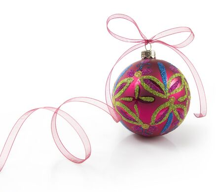christmas ball with ribbon isolated on white background Stock Photo