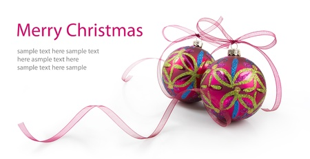 christmas pink: christmas decoration isolated on white background Stock Photo