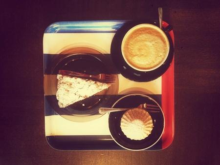 Cappuccino and cakes, retro style