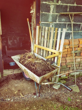 manure: Wheelbarrow with manure from chickens Stock Photo