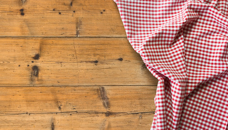 tablecloth over wooden table with copy space