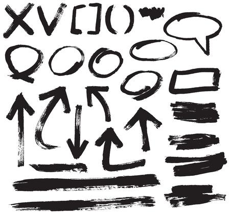 vector penseelstreek ontwerp elementen Stock Illustratie