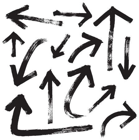 vector brush stroke arrows set  イラスト・ベクター素材