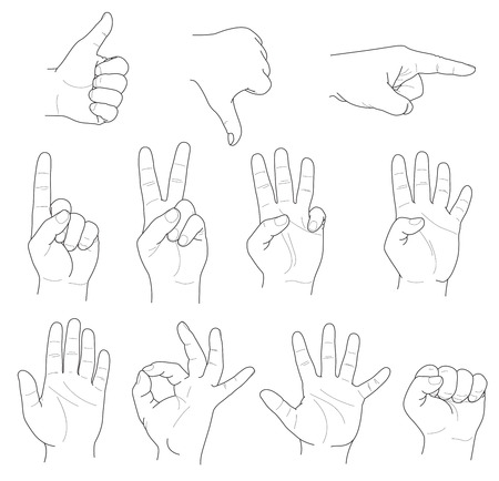 vector set of hand gestures Vector