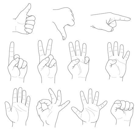 3 4: vector set of hand gestures