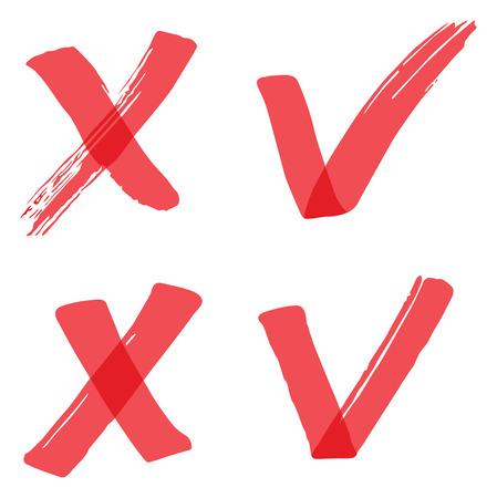 cruz roja: garrapatas resaltador vector Vectores