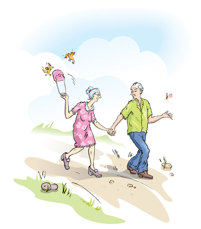 freedom couple: Cool seniors walking outside