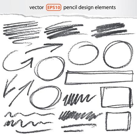 vector potlood design elementen - kleur kan met één klik worden veranderd