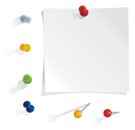it is isolated: vector white reminder notes with pins set
