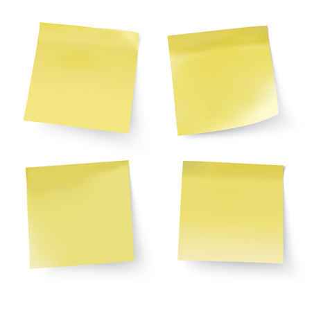 yellow stick notes, vector illustration Illustration