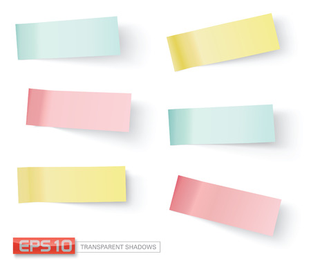 vector sticky notes, transparent shadows