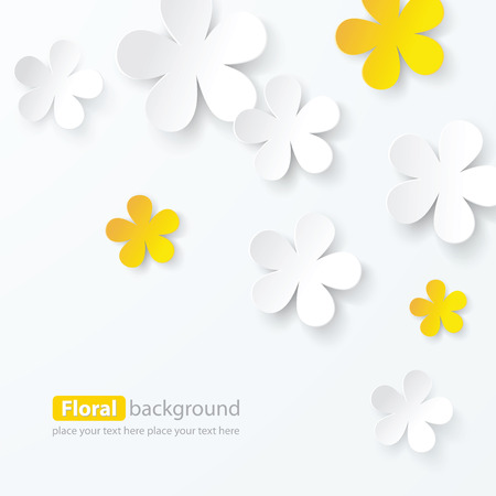flowers on white: paper floral background, vector Illustration