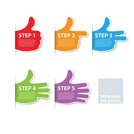 vijf stappen vingers vooruitgang vector Stock Illustratie
