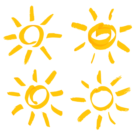 handwritten sun set Vector