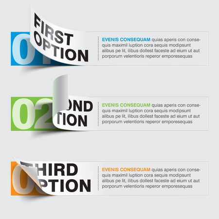 three steps sticker banners Vector