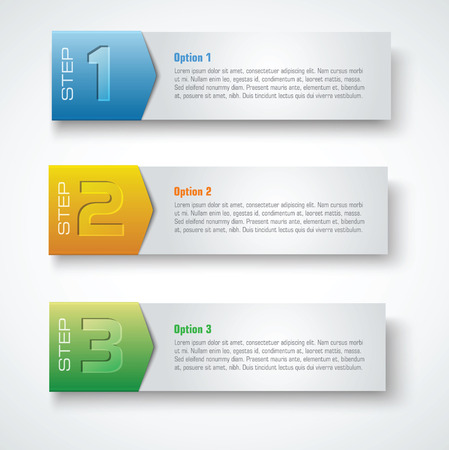instruction manual: three steps template banners Illustration