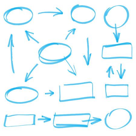 vector marker elements - color change by one click Illustration