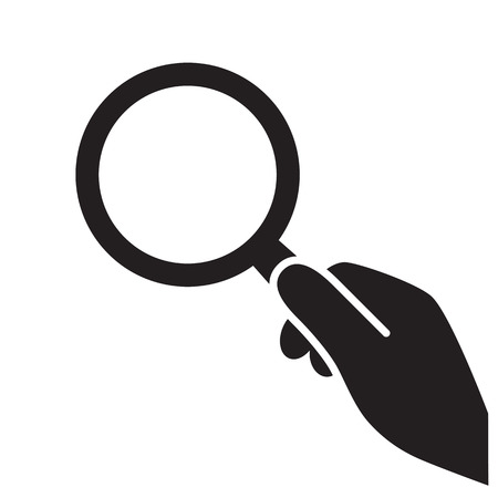 hand with magnifying glass icon