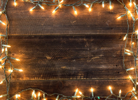 wood background: christmas light background Stock Photo