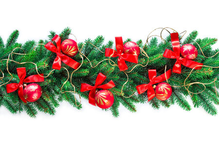 christmas garland on white background Stock Photo