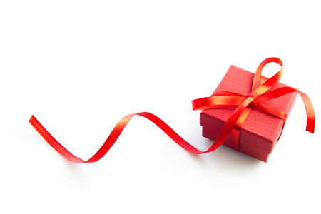Little red gift box isolated on white background. Stock Photo