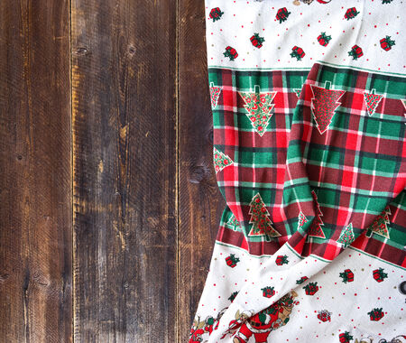 rustic table with christmas tablecloth