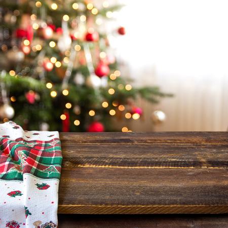 holiday display: christmas table background Stock Photo