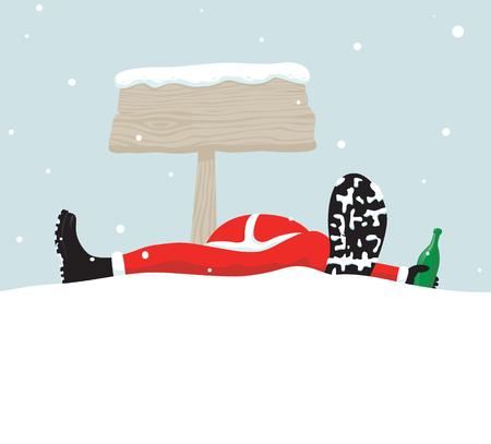Santa relaxing under signboard Vector