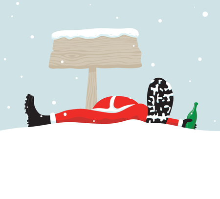 Santa relaxing under signboard Vector
